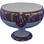 "Willets Belleek Arts & Crafts Enameled Floral Motif Pedestal Bowl (Signed ""Desha Milliken, Nashville, Tenn.""/Dated 1914)"