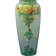 "Porcelain Limousine (PL) Limoges Arts & Crafts Yellow Rose Motif Vase (Signed ""Doherty""/c.1905-1939)"