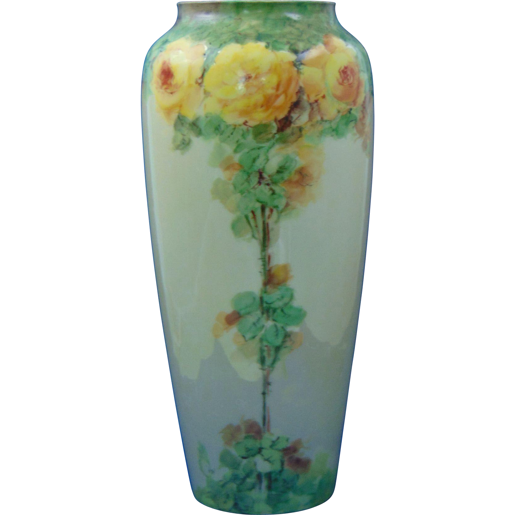 "Porcelain Limousine (PL) Limoges Arts & Crafts Yellow Rose Motif Vase (Signed ""Doherty""/c.1905-1939)"