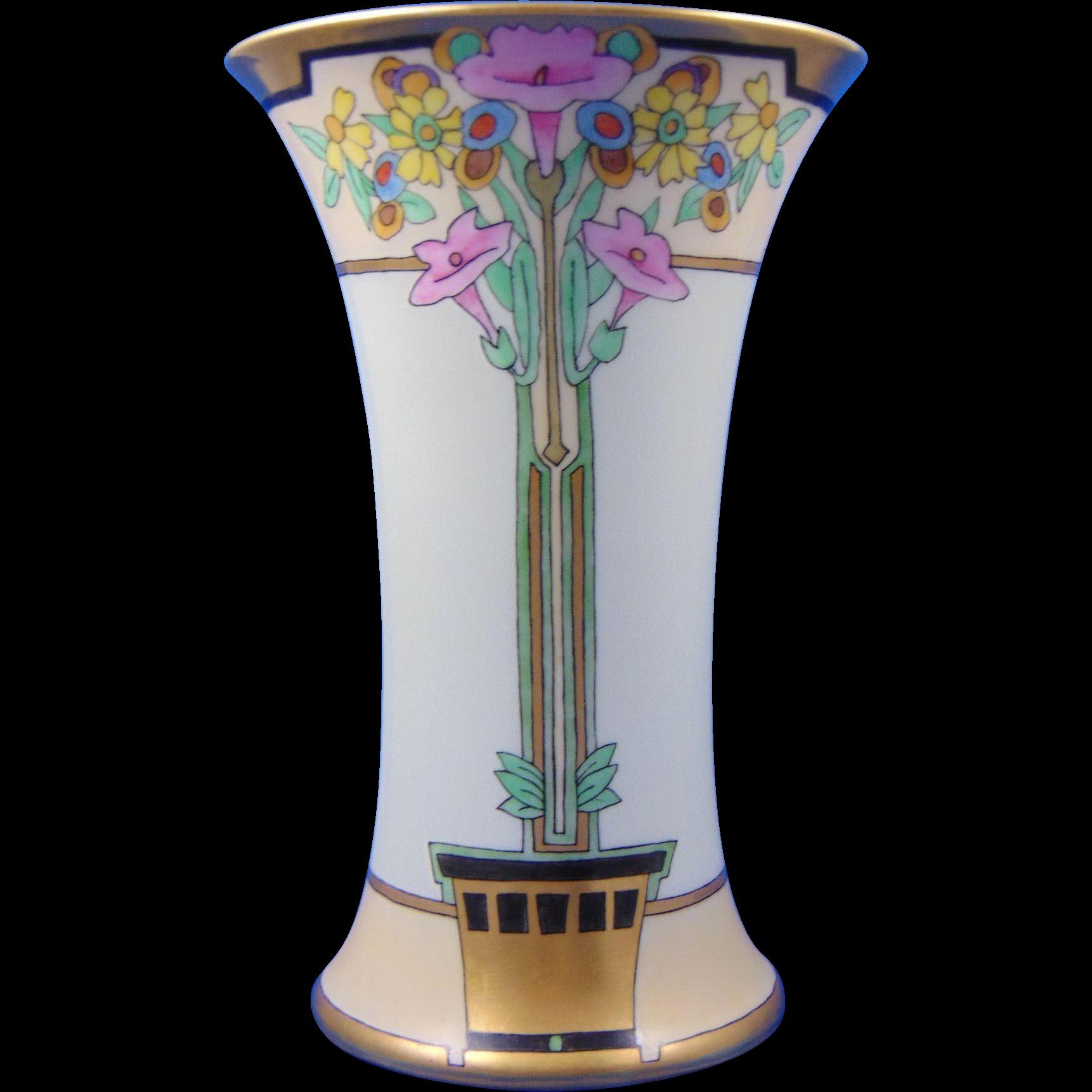 "Thomas Bavaria Arts & Crafts Floral Motif Vase (Signed ""Ada""/Dated 1925)"