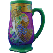 "Porcelain Blank Arts & Crafts ""Privat Livemont Grape Woman"" Design Tankard/Mug (Signed Beisbarth-Rouggly/Dated 1909) - Keramic Studio Design"