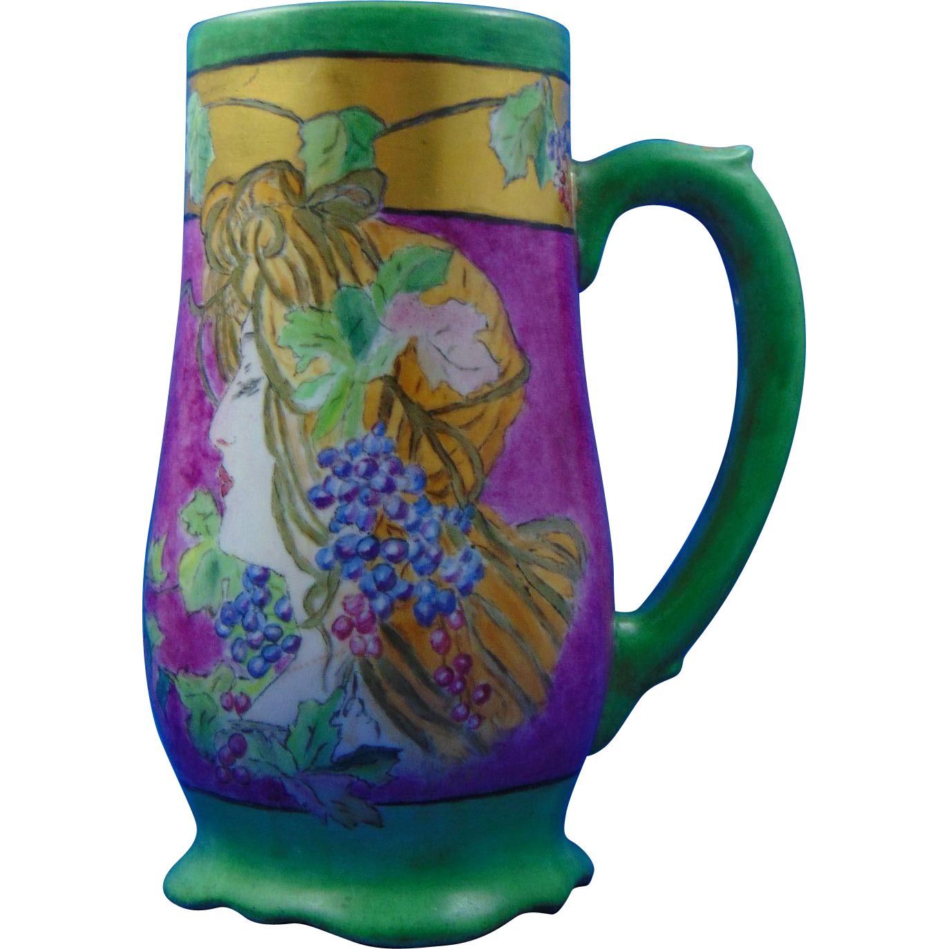 "Porcelain Blank Arts & Crafts ""Mucha Grape Woman"" Design Tankard/Mug (Signed Beisbarth-Rouggly/Dated 1909)"