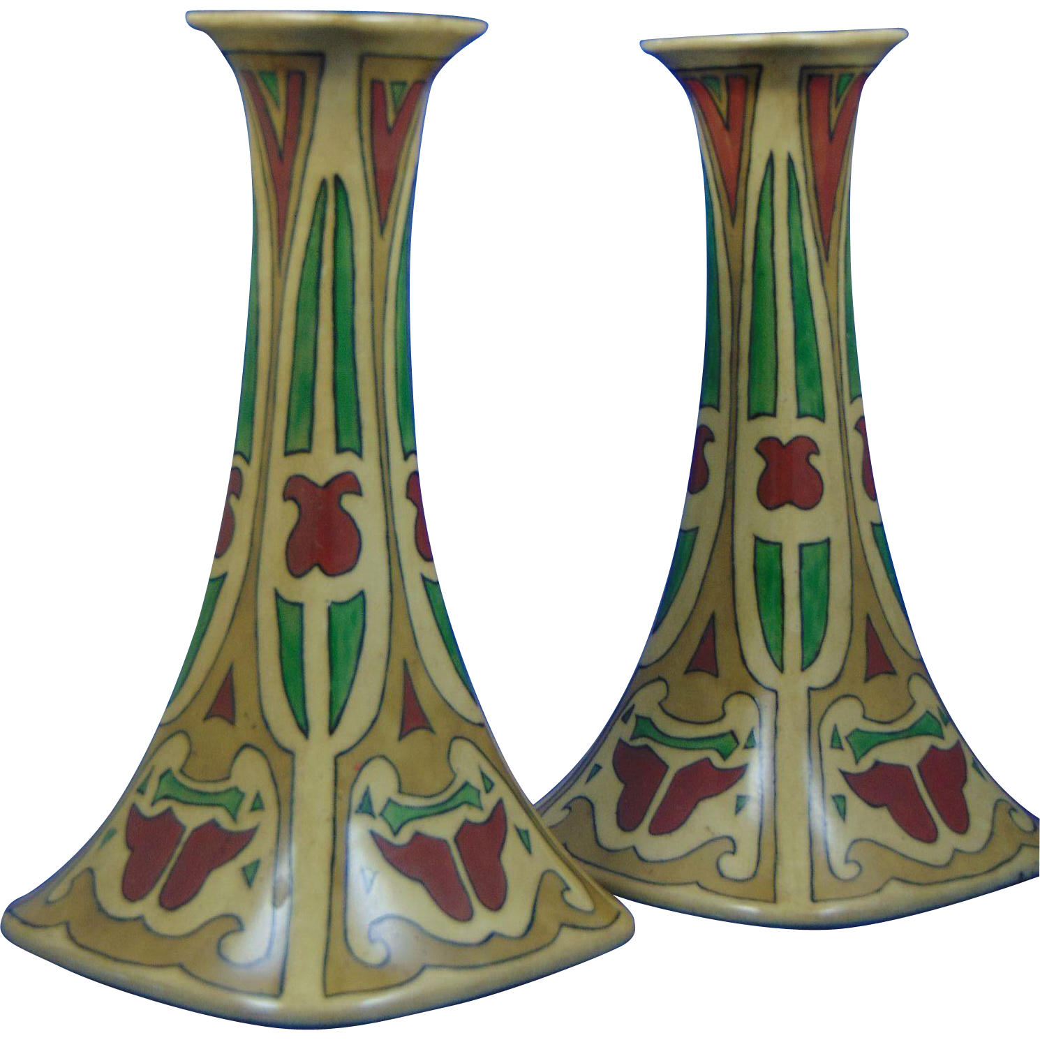 "Porcelain Limousine (PL) Limoges Arts & Crafts Candlesticks (Signed ""Nola from Winnie Xmas 1915"")"