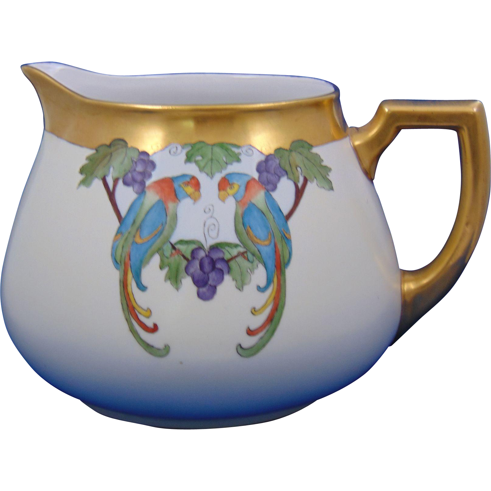 Zeh Scherzer & Co. (ZS&Co.) Arts & Crafts Parrot & Grapes Motif Pitcher (c.1920-1930) - Keramic Studio Design