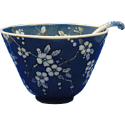 Favorite Uno Bavaria Arts & Crafts Blue & White Blossom Motif Bowl & Spoon Set (c.1910-1930)