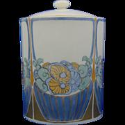 """Haviland Limoges Art Deco Floral Design Canister (Signed """"A. Hahn""""/c1900-1931)"""