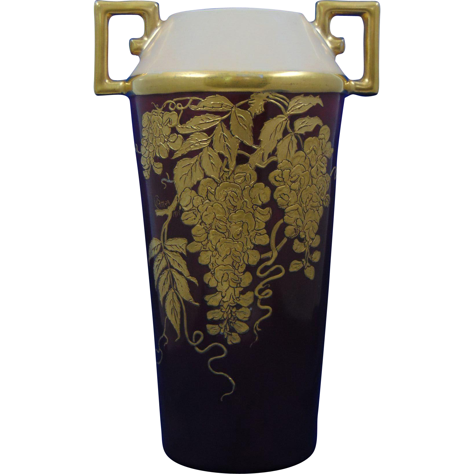 "CT Altwasser Silesia Arts & Crafts Gold Wisteria Motif Vase (Signed ""L.P. Patton""/Dated 1919)"