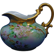 "Tressemann & Vogt (T&V) Limoges Pitkin & Brooks Studio Floral/Apple Blossom Motif Pitcher (Signed ""Ross""/c.1903-1910)"