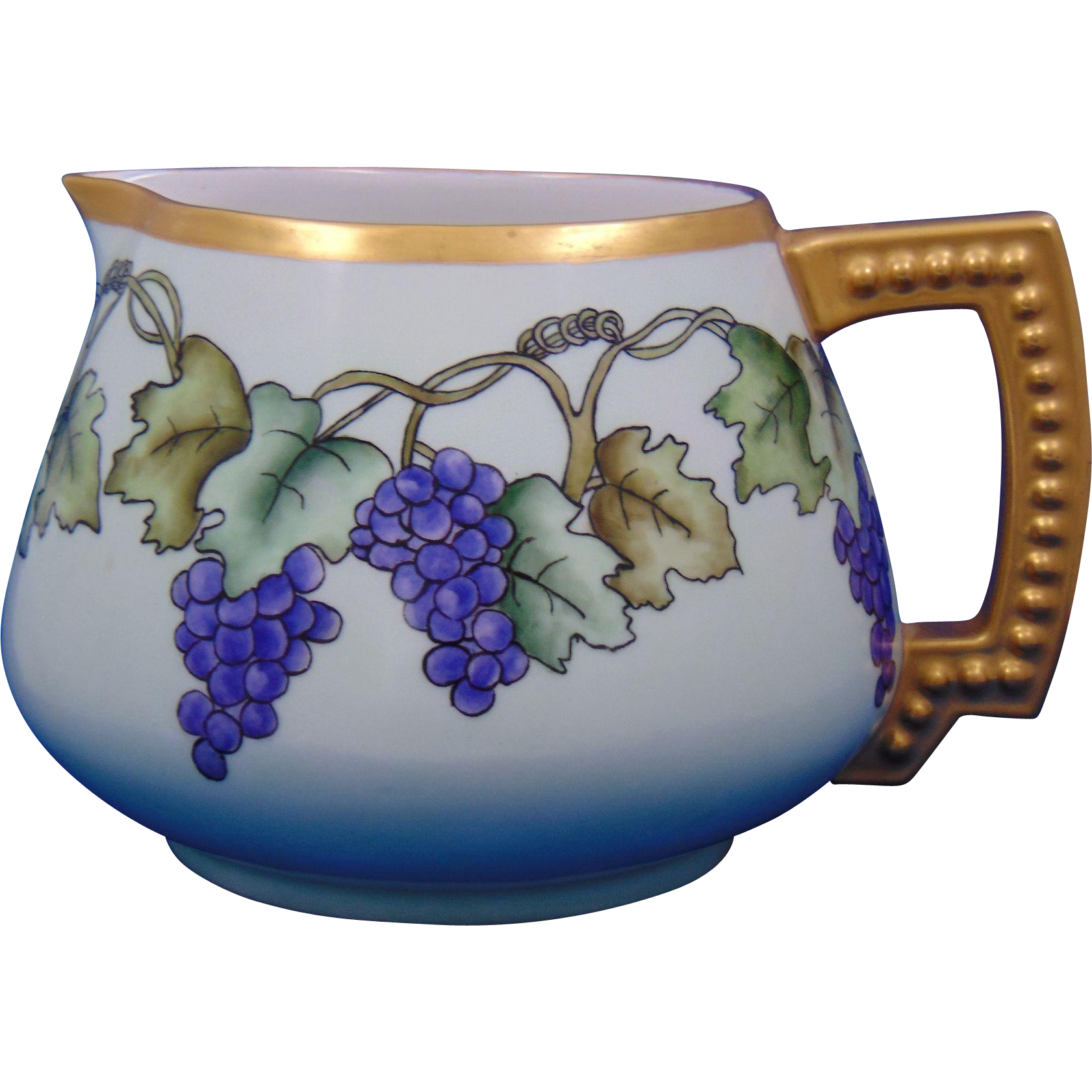 Jean Pouyat (JP) Limoges Arts & Crafts Grape Motif Pitcher (c.1890-1932)