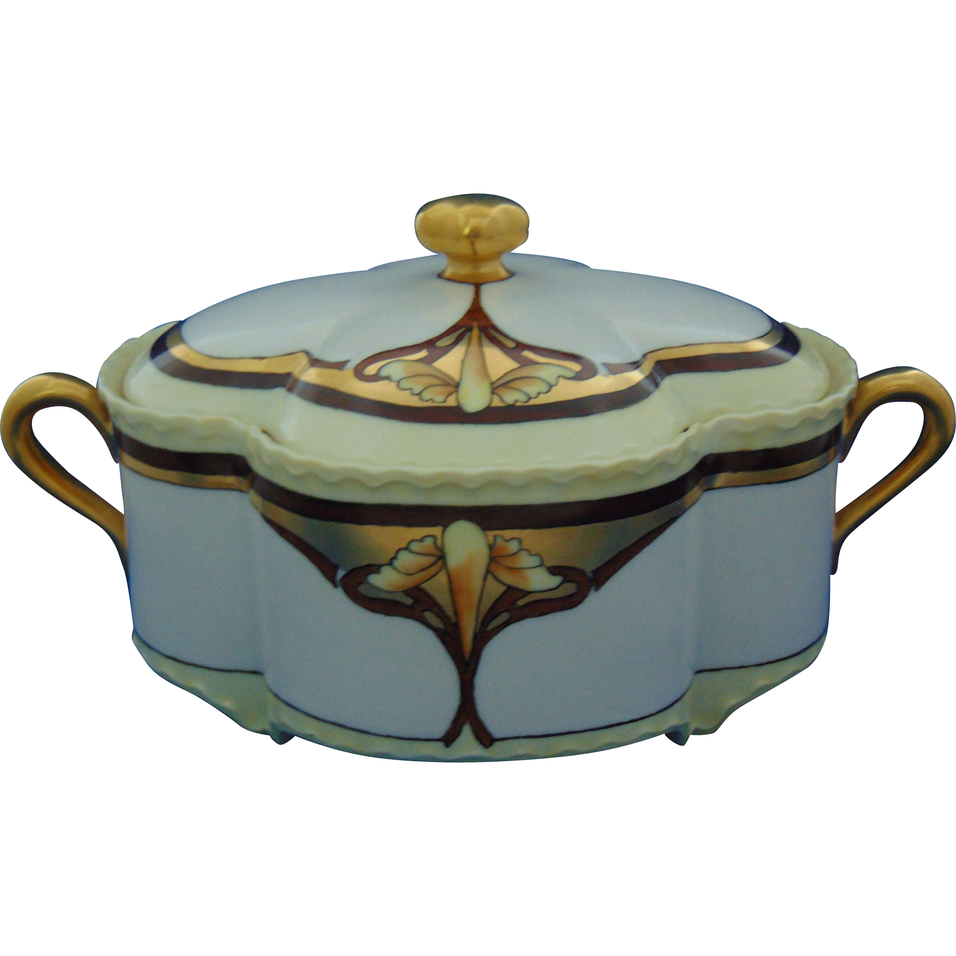 Haviland Limoges Arts & Crafts Covered Footed Serving Dish/Biscuit Jar (c.1894-1931)