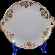"Hutschenreuther Charlotte Bavaria Arts & Crafts Floral Motif Handled Plate (Signed ""Leontine Sherlock""/Dated 1926)"