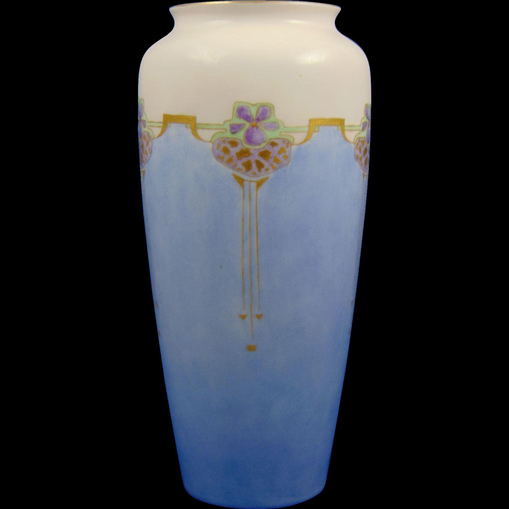 Rosenthal Selb Bavaria Art Deco Violet Motif Vase (c.1907-1930)