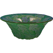 "Consolidated Glass Martele Green Wash ""Olive"" Design Bowl (c. 1920's)"