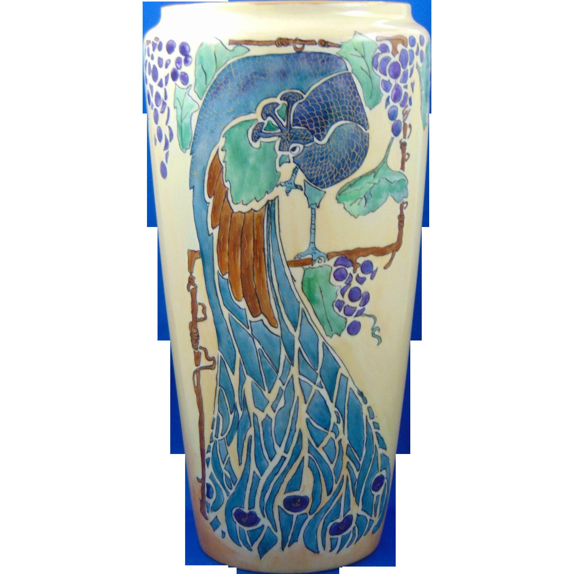 Bernardaud & Co. (B&Co.) Limoges Arts & Crafts Peacock & Grapes Motif Vase (c.1900-1914)