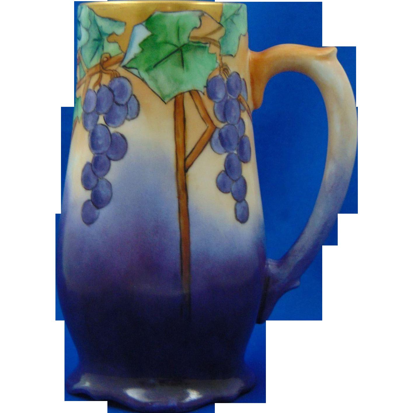 PH Leonard Austria Arts & Crafts Grape Motif Tankard/Mug (c.1890-1908)