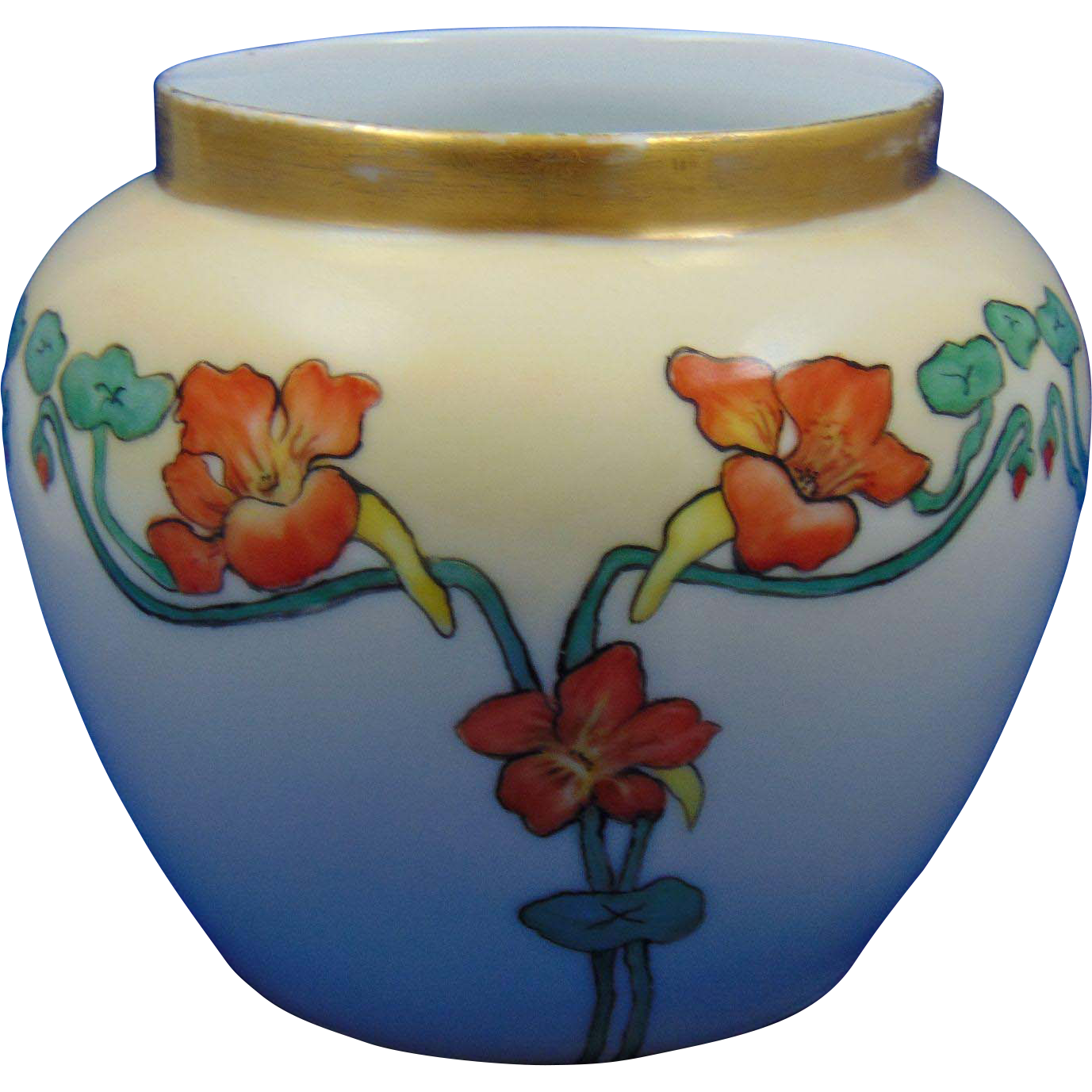 Favorite Bavaria Arts & Crafts Nasturtium Design Vase (c.1905-1930)