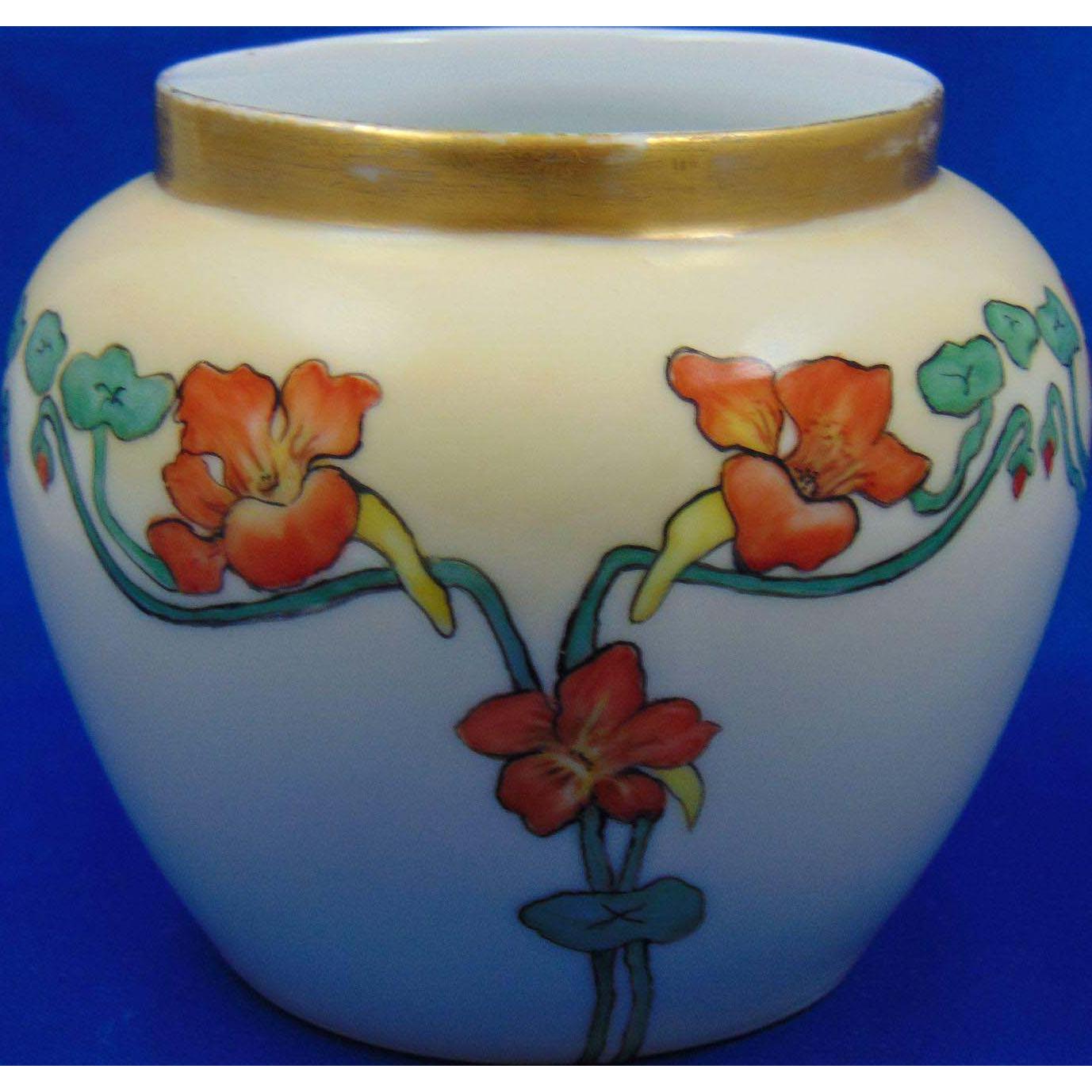 Favorite Bavaria Arts & Crafts Nasturtium Design Vase (c.1905-1930)