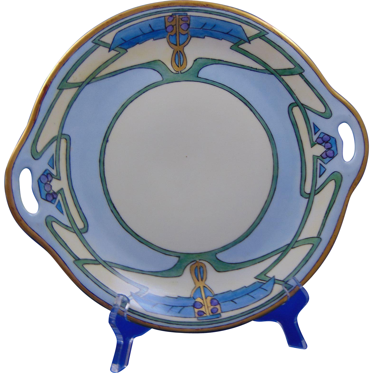 "Schonwald Bavaria Arts & Crafts Handled Plate (Signed ""P. Hughes""/c.1911-1940)"