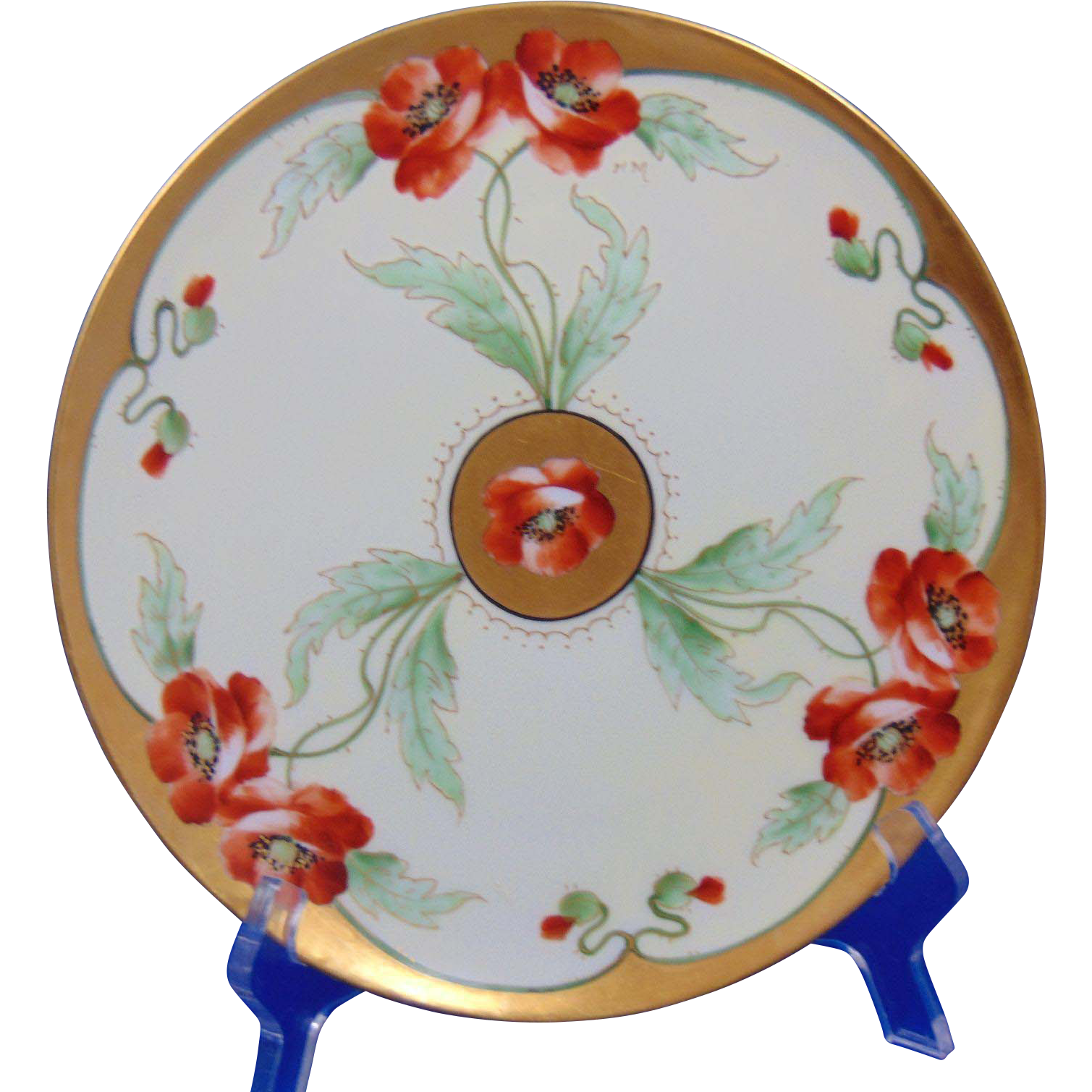 "Jaeger & Co. Bavaria Radiating Poppy Design Plate (Signed ""H.M.""/c.1910-1930)"