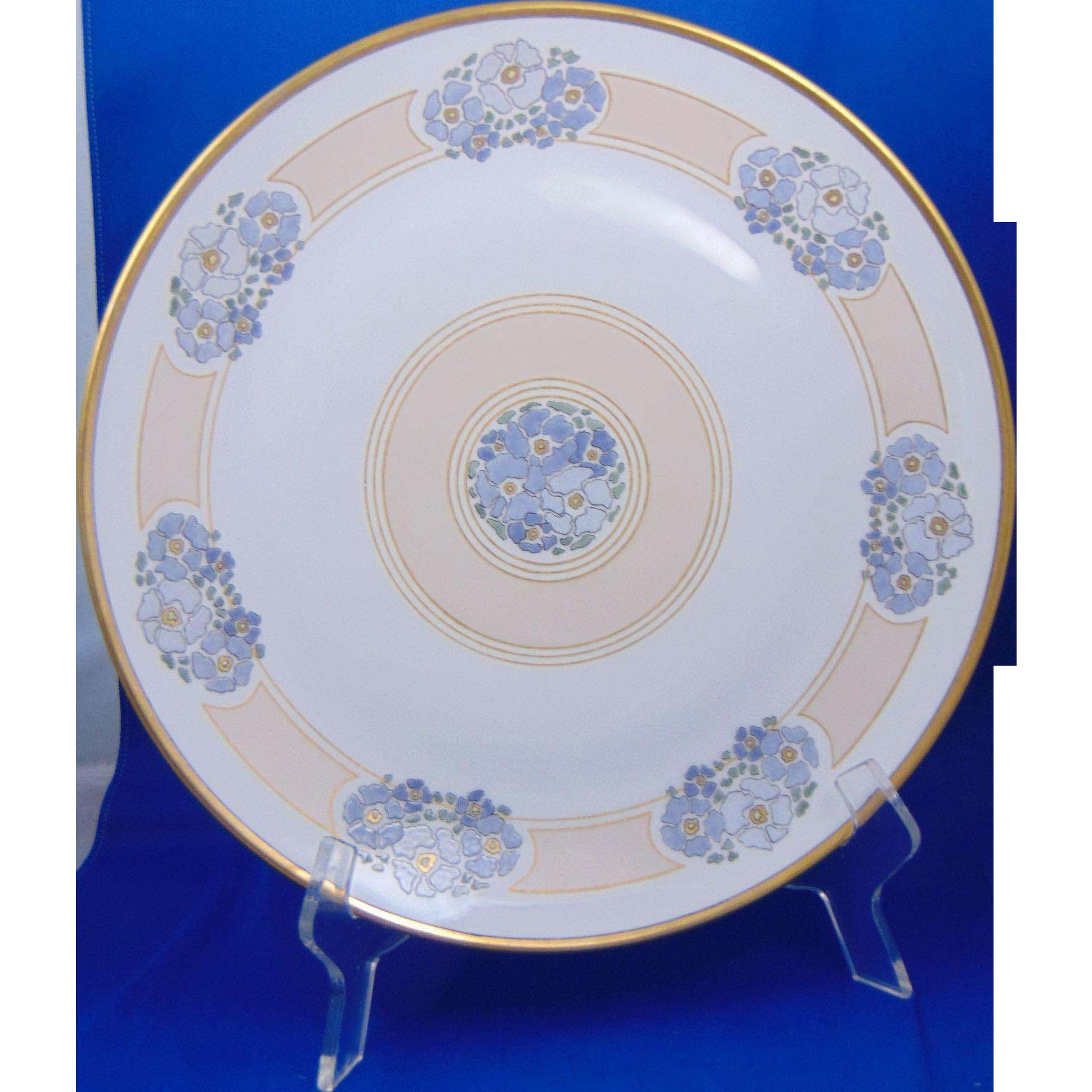 "Sommer & Matschak Schlaggenwald Austria Arts & Crafts Floral Motif Enameled Charger/Plate (Signed ""Fern Worrell""/Dated 1916)"