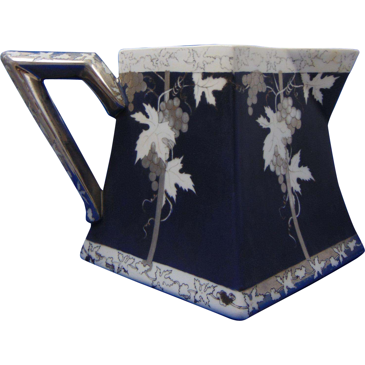 Delinieres & Co. (D&Co.) Limoges Arts & Crafts Blue, Platinum & White Grape Design Pitcher (c.1894-1910)
