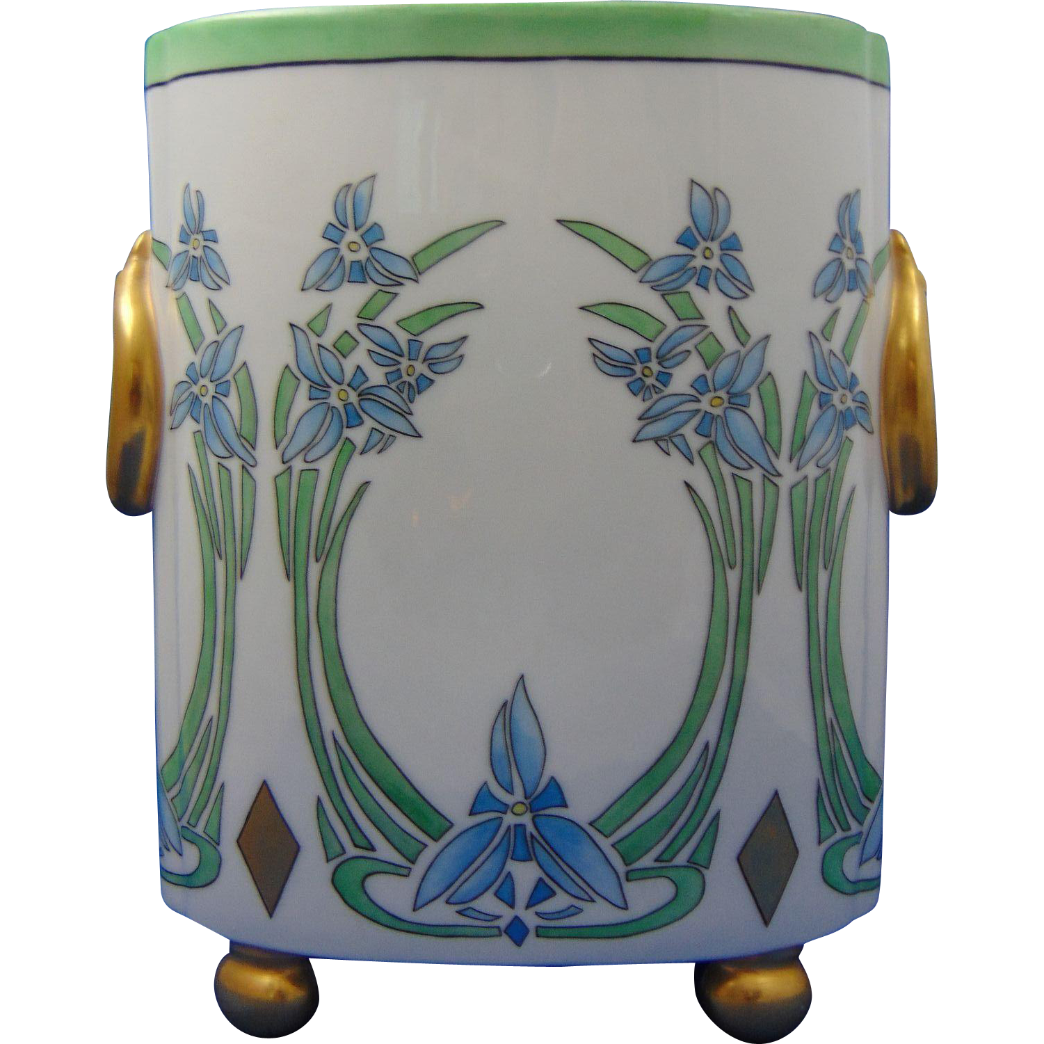 "William Guerin (WG&Co.) Limoges Arts & Crafts Floral ""Spiderwort"" Design Cachepot/Vase (c.1918-1932) - Keramic Studio Design"