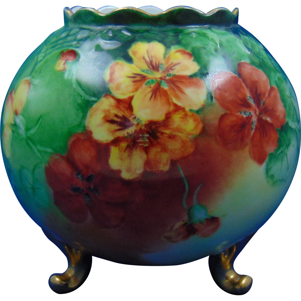PH Leonard Austria Nasturtium Design Footed Vase (c.1890-1908)