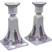 "Bernardaud & Co. (B&Co.) Limoges Arts & Crafts Rose Motif Candlesticks (Signed ""MJB""/c.1900-1914)"