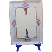 "Bernardaud & Co. (B&Co.) Limoges Arts & Crafts Rose Motif Tray (Signed ""MJB""/c.1900-1914)"
