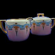 Moritz Zdekauer (MZ) Austria Arts & Crafts Creamer & Sugar Set (c.1884-1920)