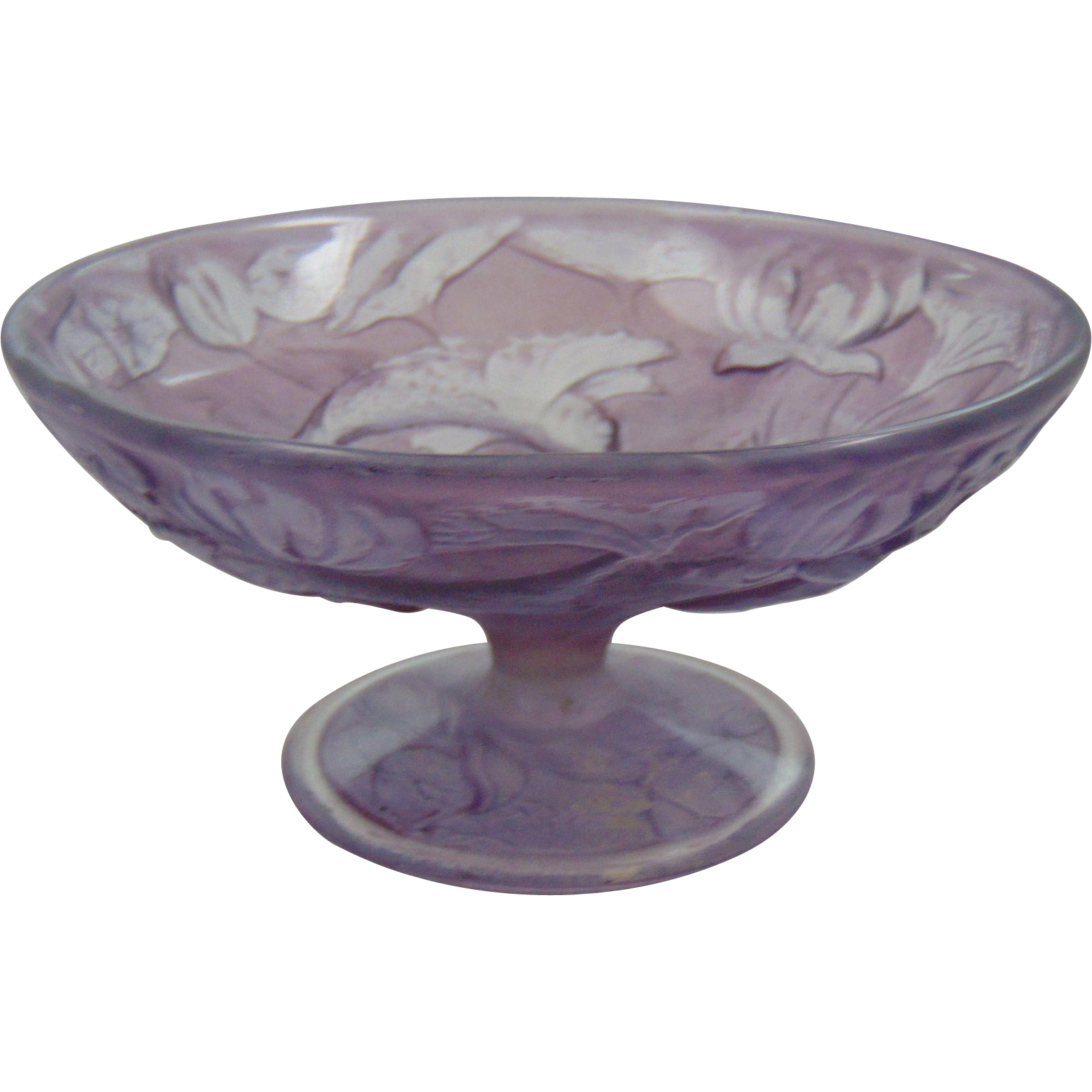 Consolidated Glass Martele Purple Wash Fish Compote/Dish (c. 1920's)