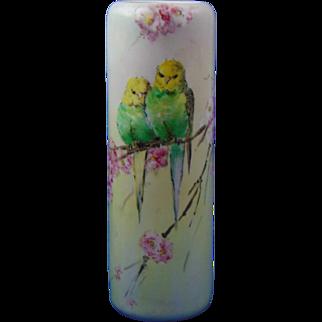 TK Czechoslovakia Arts & Crafts Parakeet Motif Vase (c.1918-1936)