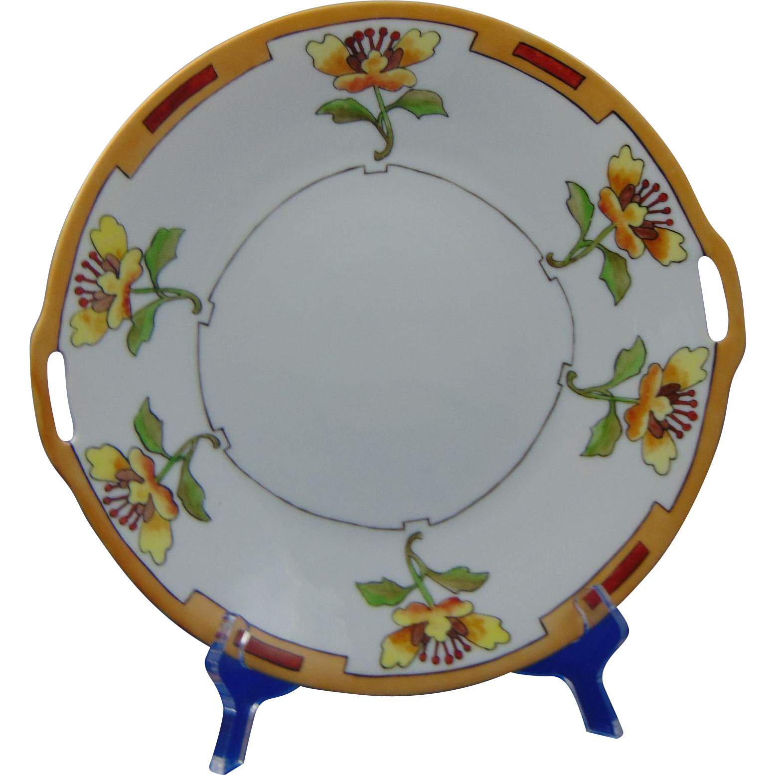 Heinrich & Co. (H&Co.) Selb Bavaria Arts & Crafts Stylized Floral Design Handled Plate (c.1900-1930)
