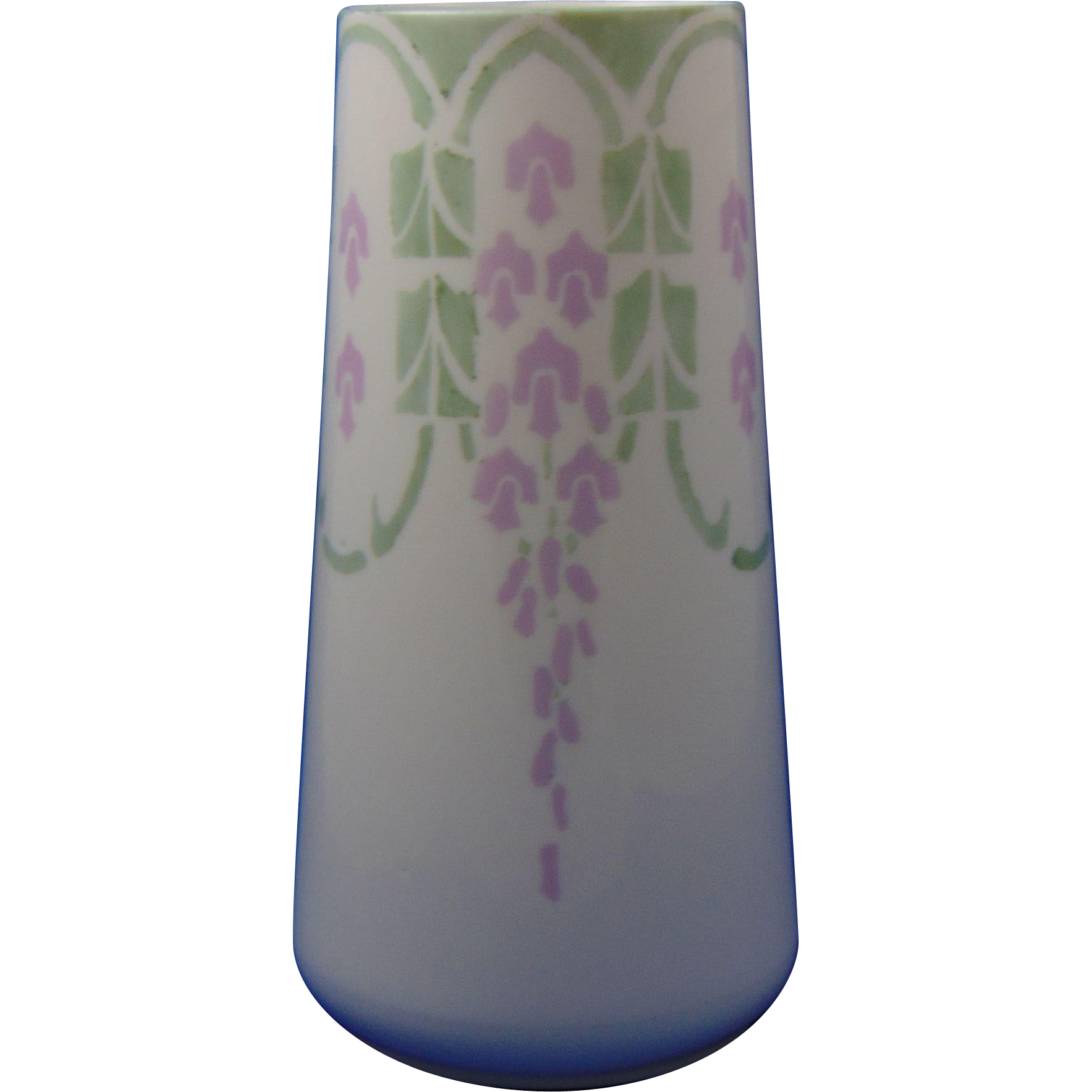"Lenox Belleek Arts & Crafts Wisteria/""Wistaria"" Design Vase (Signed ""Ruth Steimley""/Dated 1917) - Keramic Studio Design"