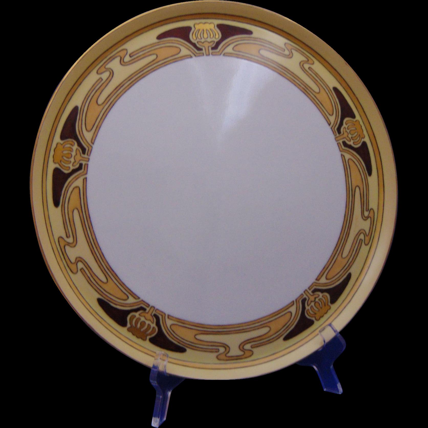 "Porcelain Blank Arts & Crafts ""Poppy Seed Pod"" Design Tray (c.1910-1930) - Keramic Studio Design"