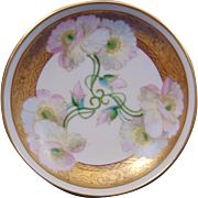 "Delinieres & Co. (D&Co.) Limoges Pickard Studios ""Pink Twin Poppy"" Design Pedestal Dish/Compote (Signed ""Mges"" for Edward P. Mentges/c.1905-1910)"