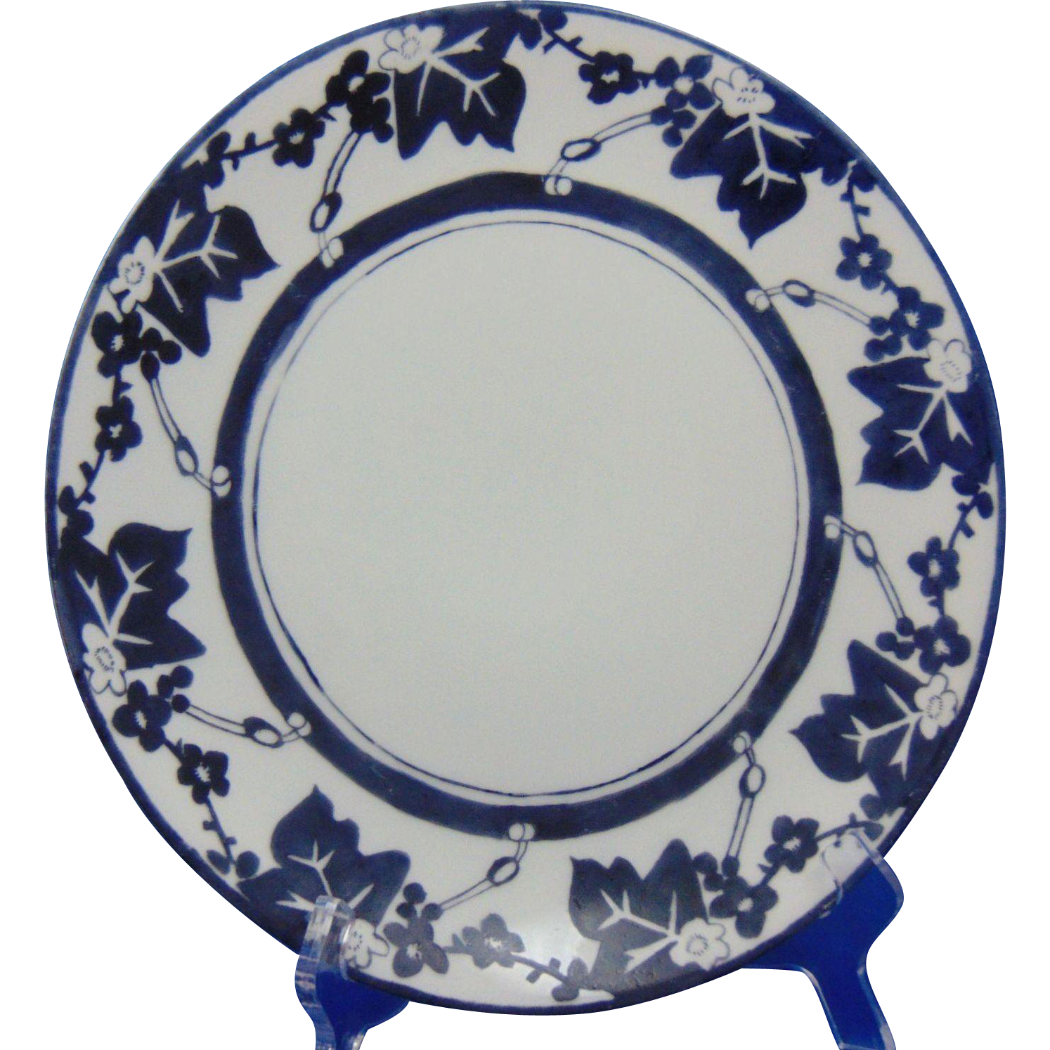 "Thomas Bavaria Arts & Crafts Blue & White Floral Design Plate (Signed ""Harriett Sayers""/Dated 1910)"