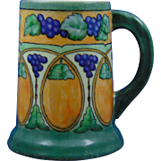 "Tressemann & Vogt (T&V) Limoges Arts & Crafts Grape & Lustre Tankard (Signed ""M.S. Lord""/c.1892-1907)"