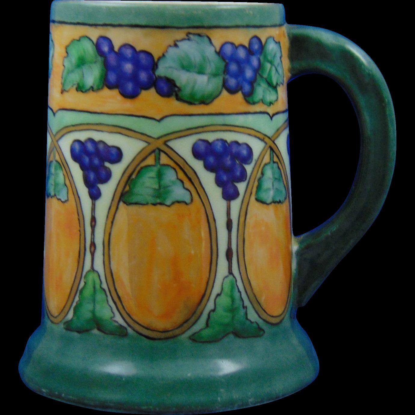 """Tressemann & Vogt (T&V) Limoges Arts & Crafts Grape & Lustre Tankard (Signed """"M.S. Lord""""/c.1892-1907)"""
