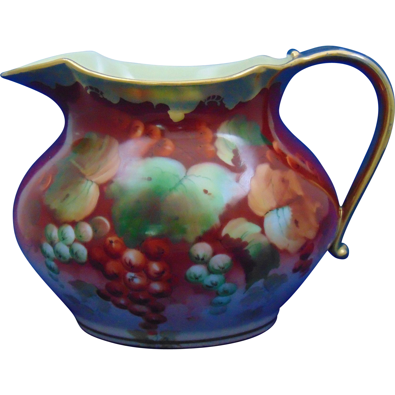 "Jean Pouyat (JP) Limoges Arts & Crafts Currant Design Pitcher (Signed ""AK"" for Pickard Artist Alfred Keates/c.1890-1932)"