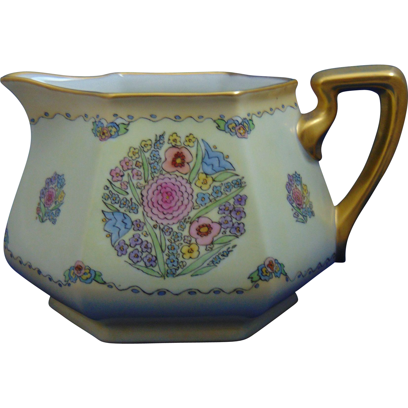 "Bernardaud & Co. (B.&Co.) Limoges Arts & Crafts Floral Design Cider Pitcher (Signed ""Mabel Duwe""/c. 1900-1914)"
