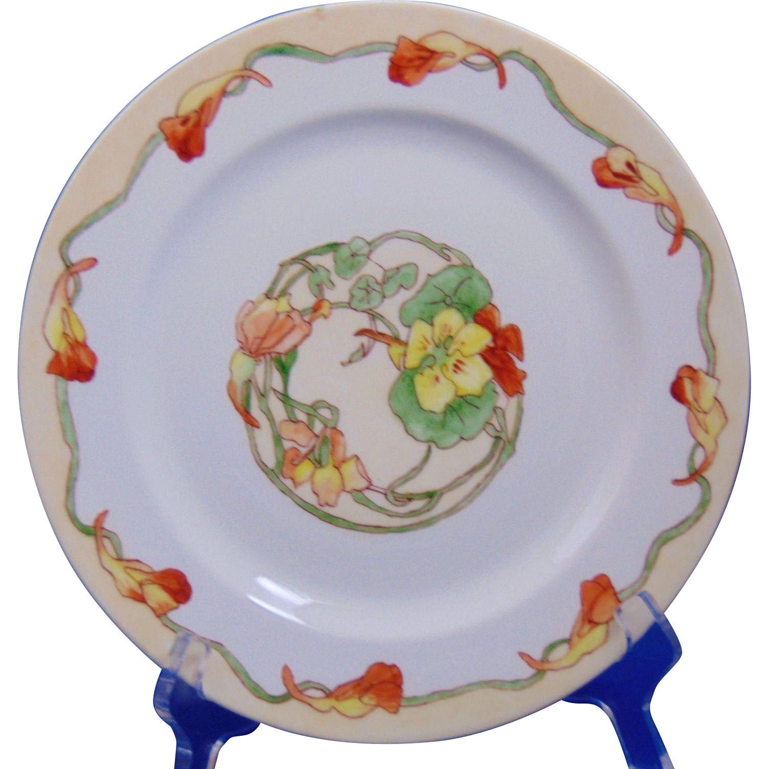 Haviland Limoges Arts & Crafts Nasturtium Design Plate (c.1911-1931) - Keramic Studio Design