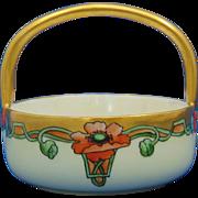 "Moritz Zdekauer (MZ) Austria Arts & Crafts Poppy Motif Basket/Dish (Signed ""M. Perl""/c.1884-1909)"