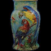 """Schonwald Porcelain (PSAA) Bavaria Arts & Crafts Parrot Motif Vase (Signed """"C.S.J.""""/c.1920-1927)"""