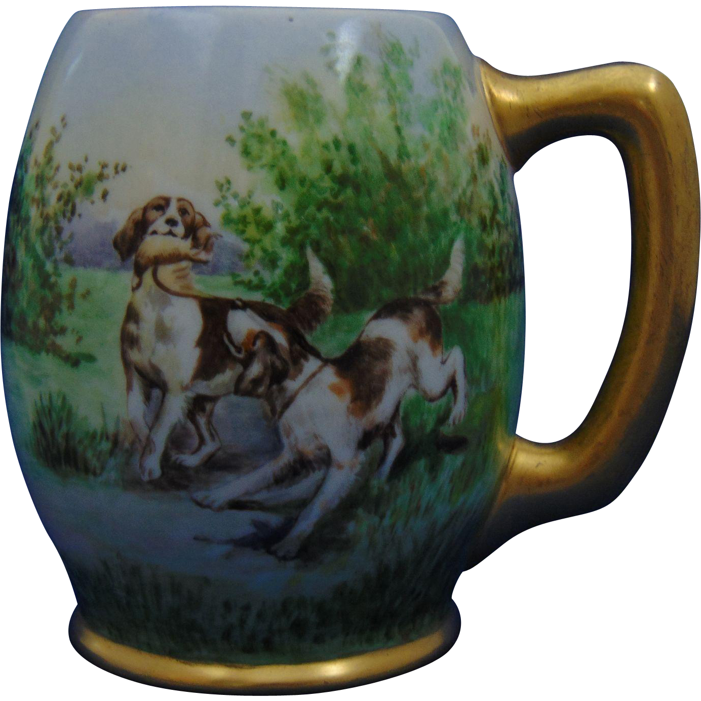 "Ceramic Arts Co. (CAC) Belleek Arts & Crafts Hunting Dog Motif Mug/Tankard (Signed ""Margaret B.""/Dated 1906)"