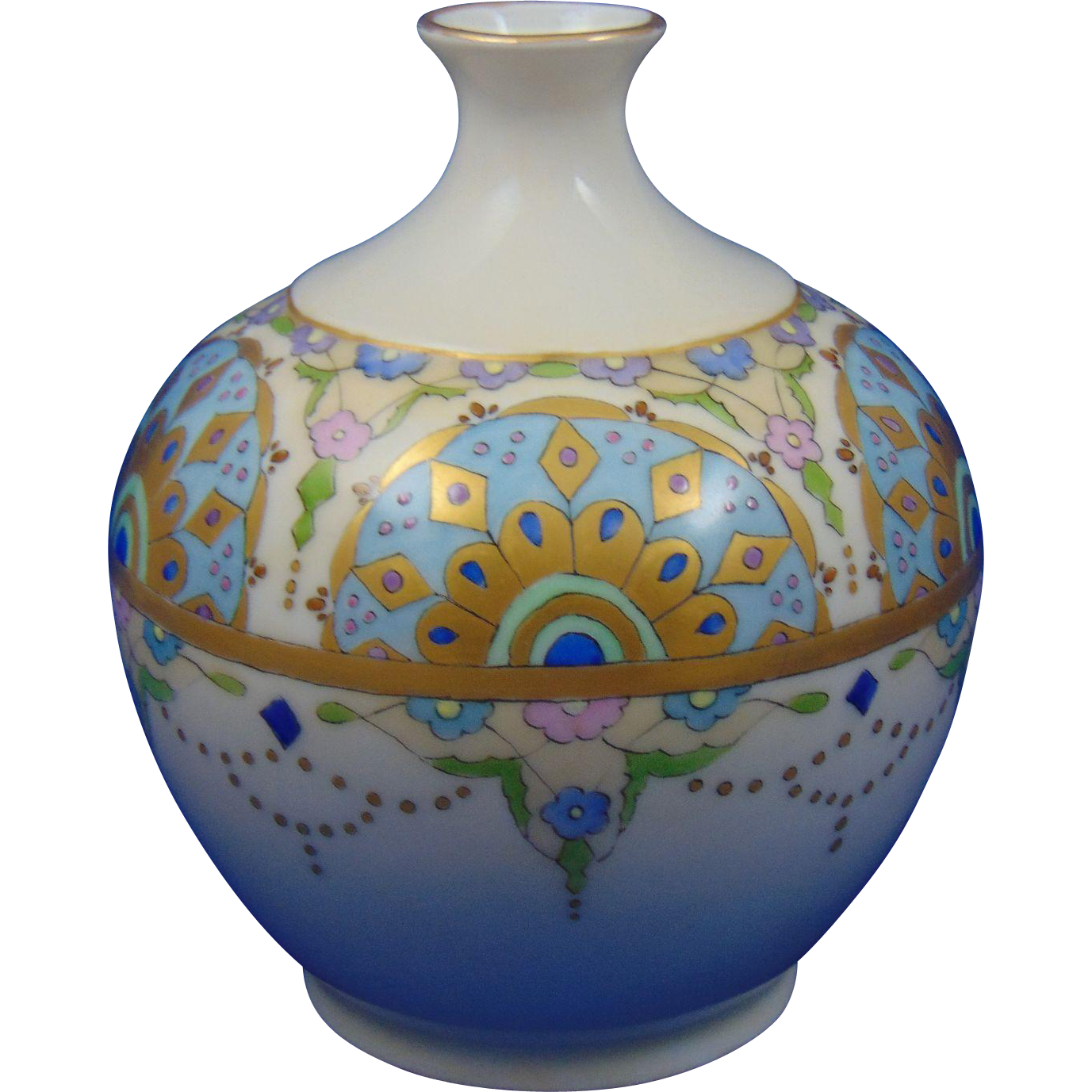 "Vignaud Limoges Arts & Crafts Floral Design Vase (Signed ""G.B. Spainhower""/Dated 1914)"