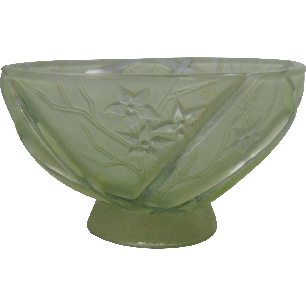 "Consolidated Glass Green Wash Martele ""Line 700"" Design Bowl (c. 1920's)"