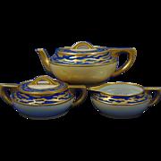 Paroutaud Freres (P&P) La Seynie Limoges Arts & Crafts Matte Blue & Gold Teapot, Creamer & Sugar Set (c.1903-1917)