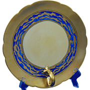 Porcelain Limousine (PL) Limoges Arts & Crafts Matte Blue & Gold Handled Server (c.1903-1917)