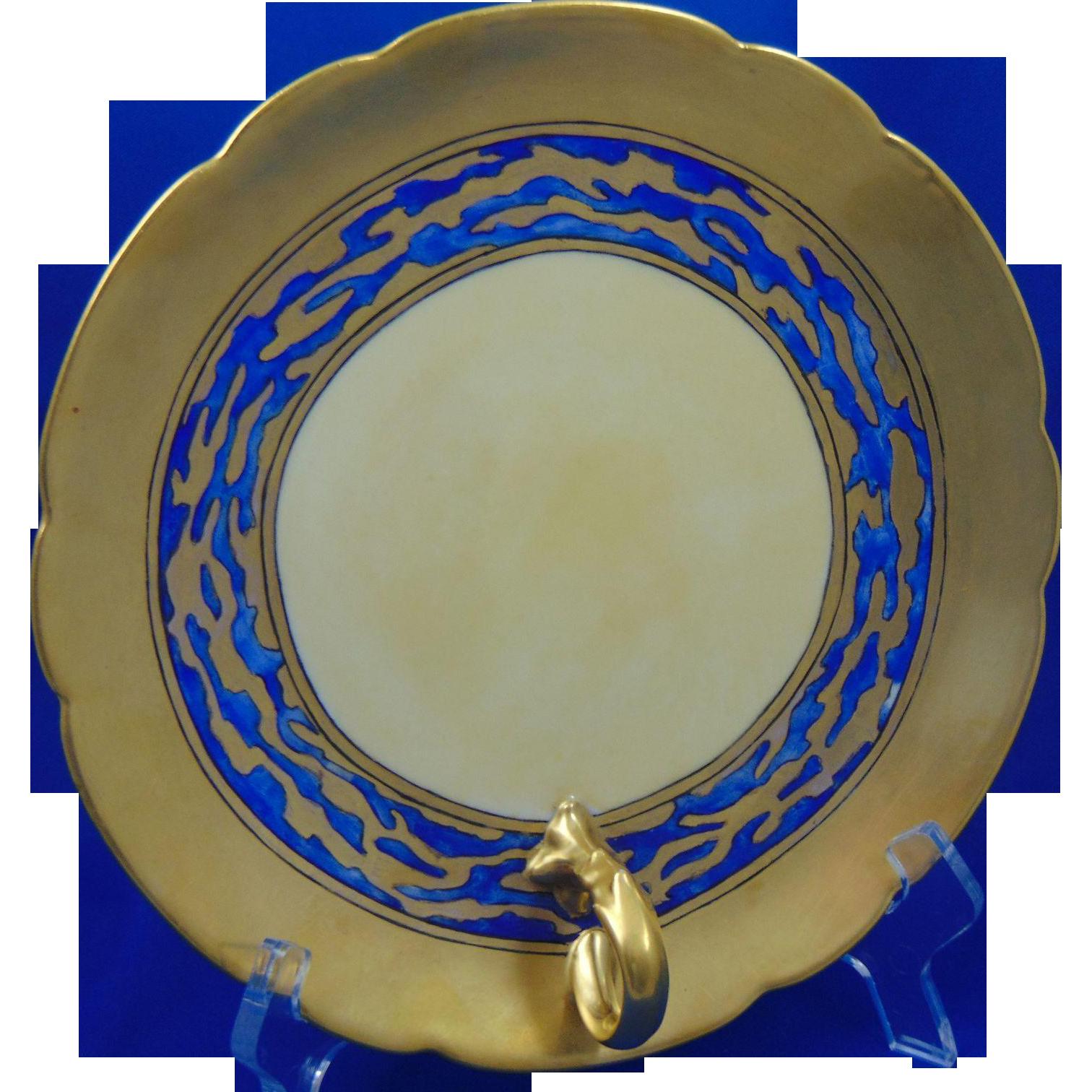 Porcelain Limousine (PL) Limoges Arts & Crafts Matte Blue & Gold Handled Serving Plate/Dish (c.1903-1917)